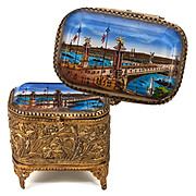 SALE Antique French Grand Tour Souvenir Trinket Box, Casket - Pont Alexandre II Bridge - Eglom