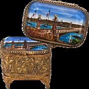 SALE Antique French Grand Tour Souvenir Trinket Box, Casket - Pont Alexandre II Bridge - ...