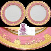 "SALE Elegant PAIR Antique Minton Tiffany & Co. 9.5"" Plate Set, Pink & Raised Gold Borders"