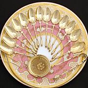 SALE Gorgeous Antique French 18K Gold Vermeil on Sterling Silver 15pc Tea Service, Unique Shap
