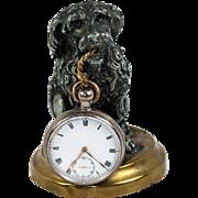 SALE Antique French Poodle Dog Figural Pocket Watch Holder, Stand. Napoleon III Era