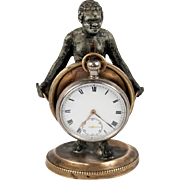 SALE Antique French Blackamoor Figure, Figural Pocket Watch Stand, c.1830-60