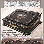 SALE Superb 19th C. Papier Mache Writing Box/Slope, HP & MOP Decoration
