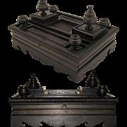 """SALE LG Napoleon III Carved Ebony 14"""" Double Inkwell or Inkstand"""
