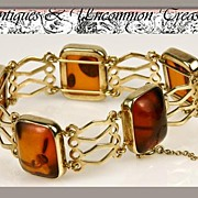 SALE Superb Vintage Baltic Sea Amber, Gilt Sterling Silver Bracelet