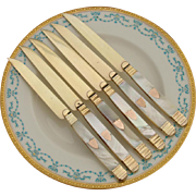 SALE Rare Antique French Vermeil & Mother of Pearl 6pc Knife Set: Vieillard mark: 1819 - 38