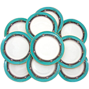 "SALE Vintage Lenox 10pc 8.5"" Plate Set: Teal, Raised Floral Enamel"
