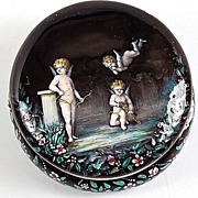 SOLD Fine Antique French Sterling Enamel Patch Box, Angels, Cupid, Putti