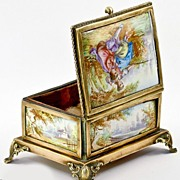 SALE Antique Viennese or French Kiln-fired Enamel Jewelry Casket, 5 Perfect Plaques