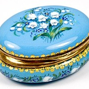 SALE Petit Antique French Kiln-Fired Enamel Jewerly Casket, Box, Lilly of the Valley,EC!