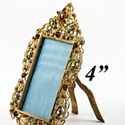 SOLD Antique French Jeweled 'Gem' Frame, Bresson Enamel Cabochons, Jeweled