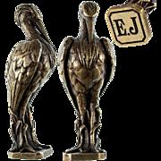 """SOLD Antique French Solid Bronze Cast Art Nouveau Crane, Animalier - Wax Seal """"E J"""""""