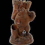 """SALE Antique Black Forest Carved Bear Cigar & Match Server, or Spill Vase, 9"""" Tall"""