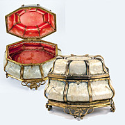 SALE Antique French Jewelry Box, Casket, Mother of Pearl and Ormolu, c.1810-40