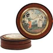SOLD Antique English Snuff Box, Hand Painted Miniature Portrait, 2 Children Play Badminton