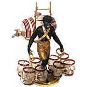 SOLD Rare Antique French Blackamoor Liqueur Cabaret or Serving Set, Figural & c.1850-70.