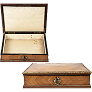 SALE Fine Antique 1800s French Kingwood & Ormolu Jewelry Box, Chest, Lock and Key, Napoleon II