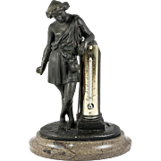 SALE Antique French Bronze Statue on Marble Base, Opulent Thermometer Stand. Neo-Classical