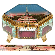 SOLD Antique Eglomise Souvenir Box, Jewelry Casket, 6-Sided with the Eiffel Tower