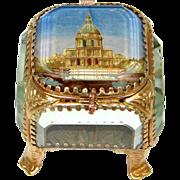 """SOLD Lovely Antique Eglomise Souvenir Box, Jewelry Casket, """"Paris - Les Invalides"""""""