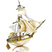 """SALE Antique 19th c. French Mother of Pearl Shell Boat, Sail 11"""" Tall Ship, Inkwell ..."""