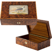 SALE Antique English Burled Jewelry or Cigar Box, Casket, Embroidery with Game Fowl, Pheasant