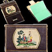 SALE Antique 19th c. Leather Card Case, Note, Necessaire, Needlework Inset, Grand Tour Souveni