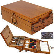 SOLD Fine Antique French Painter's Box, 3-Tier Telescoping with Scroll Cut Sides & Many Origin