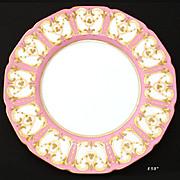 "SALE Elegant Antique Royal Doulton 8 5/8"" Cabinet or Decorative Plate, Pink & Raised Gold"