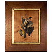 SALE Antique French Trompe L'oeil Oil Painting on Board, Still Life Fruits of the Hunt, c.1870