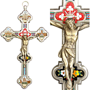 "SALE Lg Antique Italian Grand Tour Era Micro Mosaic 8"" Crucifix, 4 Architecturals of Rome"