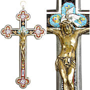 "SALE Lg Antique Italian Grand Tour Era Micro Mosaic 8.5"" Crucifix, Floral with White ..."