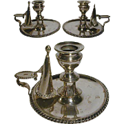 SALE 1800s Victorian SP Chamberstick PAIR w/ Snuffers