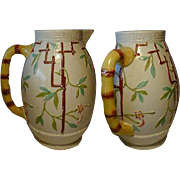 SALE Rare 19c Newhall Majolica Water Pitcher, Oriental Influence