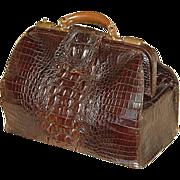 "SALE Antique Victorian 16.5"" Alligator Satchel, LG Hornback Scales"