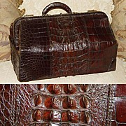 "SALE Antique Victorian 20"" Alligator Satchel, Raised Hornback Scales"