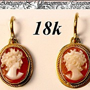 SALE Fine Vintage 18K Gold & Shell Cameo Earrings Pair, Silhouette