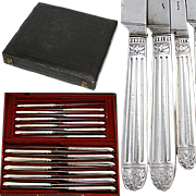 SALE Antique French Sterling Silver 20pc Knife Set, 2pc for TEN, Fitted Box