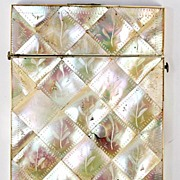 SALE Antique Victorian Card Case, Mother of Pearl Parquet