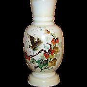 """SALE Antique Victorian Era Opaline 11"""" Vase, Painted Bird & Foliage"""