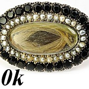 SALE Large Antique Georgian Mourning Brooch 10k, Seed Pearl & Jet