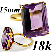 SOLD Superb Vintage Estate 18k Gold and HUGE Amethyst Cocktail Ring 15mm x 12mm