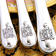 SALE RARE Antique French Sterling Silver 54 pc Table Knife Set, 3pc Setting for 18 ...