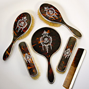 SALE Antique Edwardian English Sterling Silver and Faux Tortoise Shell Dressing Table Set, ...