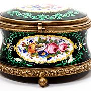 SALE Antique French Kiln-fired Enamel Jewelry Casket, Box, Case - unsigned Tahan