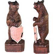 "SALE Vintage Hand Carved 14.5"" Tall Black Forest Bear Menu Stand or Household Crest ..."