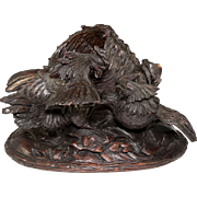 SALE Super Mid-1800s Carved Wood Black Forest Sculpture, Cock Fight with Basket, Cigar or ...