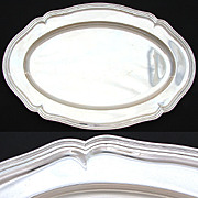"""SOLD Fine Antique Continental (nearly sterling) Silver 19"""" x 12.5"""" Tray, Fluted Bord"""