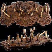 """SALE Fine Antique Stag Antler & Carved Black Forest 20"""" Wall Mount Hat Rack"""