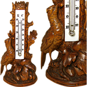 SALE Antique Black Forest Carved Thermometer Stand, Detailed Bird & Foliage